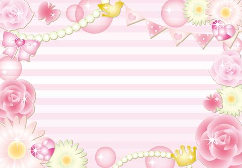 Girly flower border frame (pink)