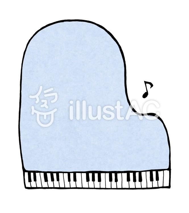 ピアノの枠_線なし_水色のイラスト