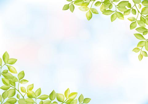 수채화 잎 6