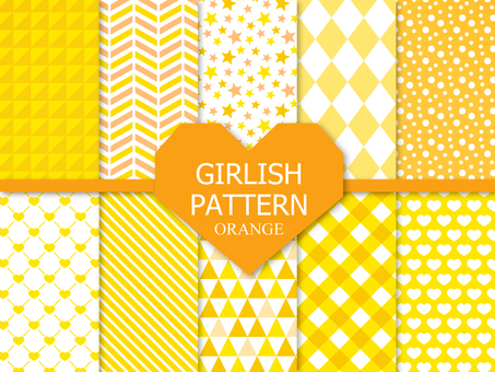 Girly pattern 【Orange】