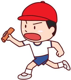 달리기로 달리는 소년의 그림