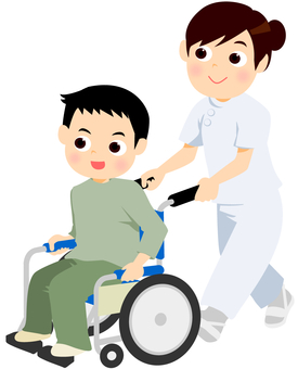 Wheelchair boys and nurses