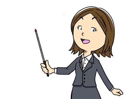 女人用支撐桿(OL)解釋的插圖