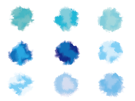 Water-color bleed Blue series circle set