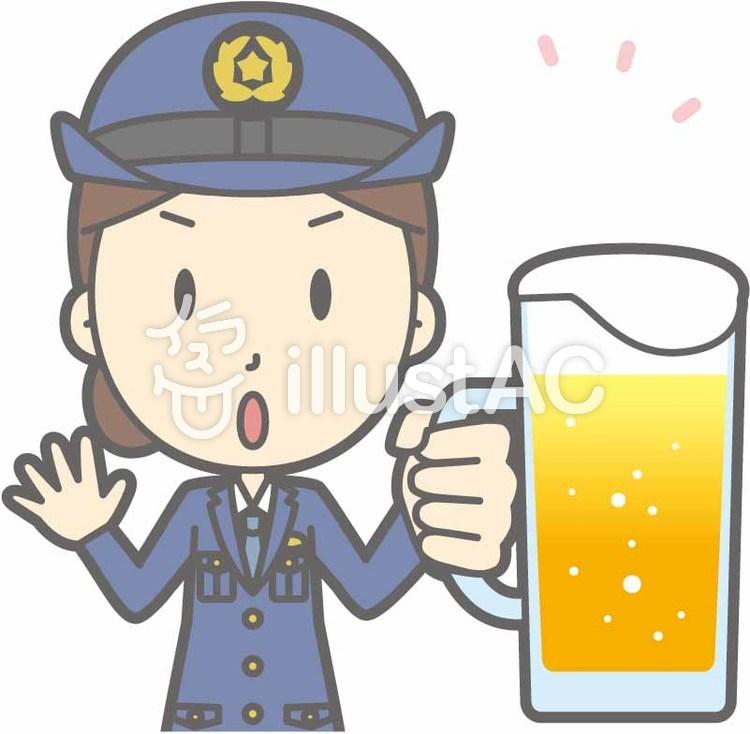 警察官女性a-ビール注意-バストのイラスト