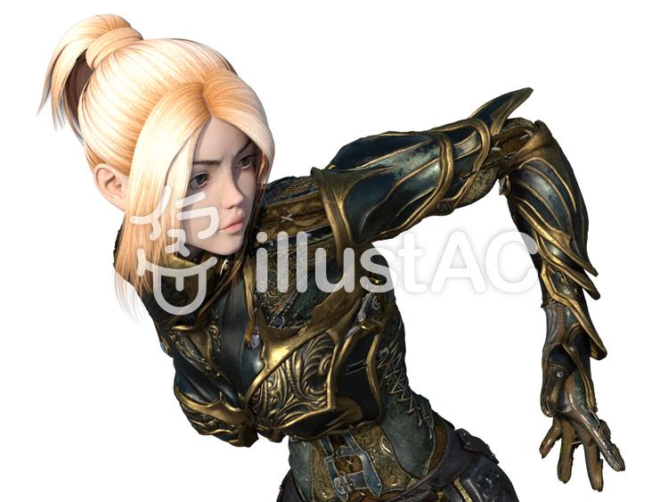 鎧に身を固めて走るブロンド少女のイラスト