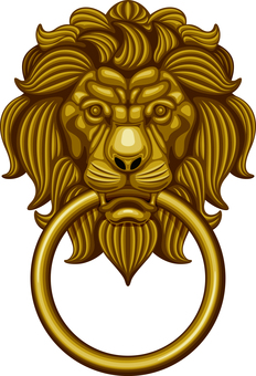 Door knocker Lion lion golden