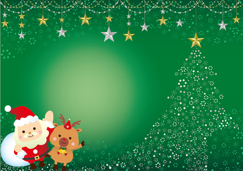 Glittering Christmas card with green santa