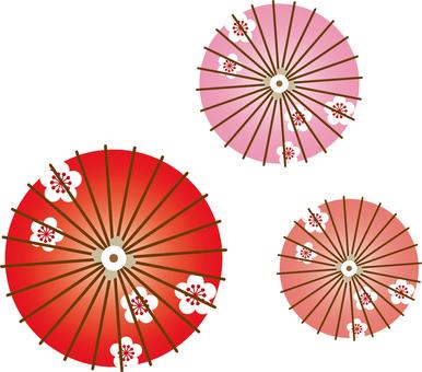 Plum flower pattern red umbrella
