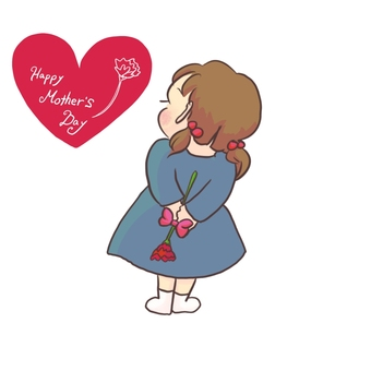 Mothers day girl illustration