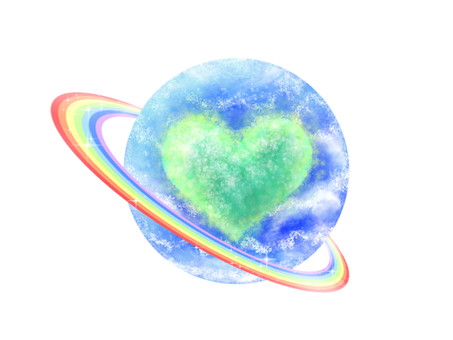 Rainbow ring with water and green planet