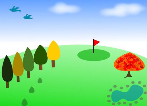 Autumn Golf Course Illustration