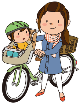 Mama and child and bicycle