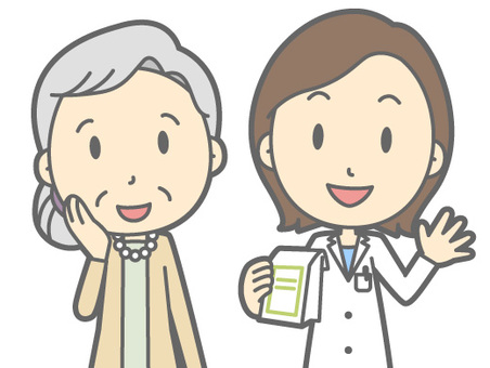 Pharmacist and patient - old woman - bust