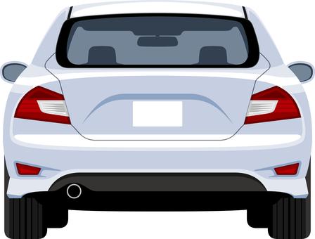 在白色後的汽車背面圖
