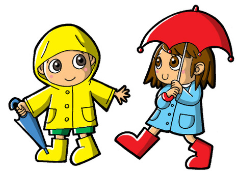 Boy and girl wearing rain gear