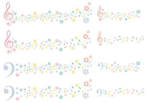 優雅なイースターカラー音符ライン風セット