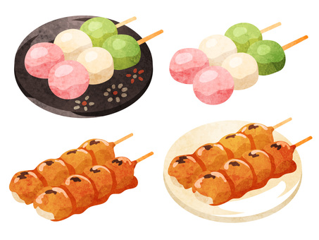 Cooking_Japanese confectionery_Dango_Watercolor