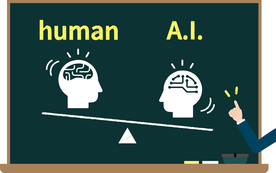 Artificial intelligence and people's blackboard image