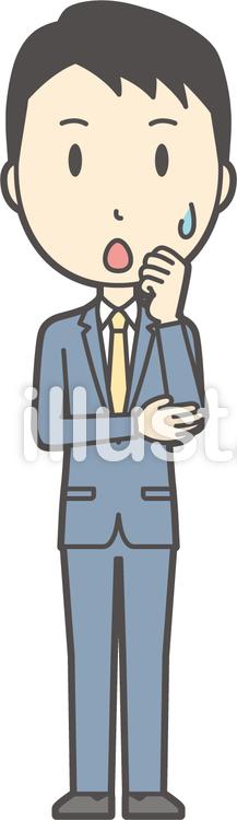 スーツ男性ネイビー-265-全身のイラスト