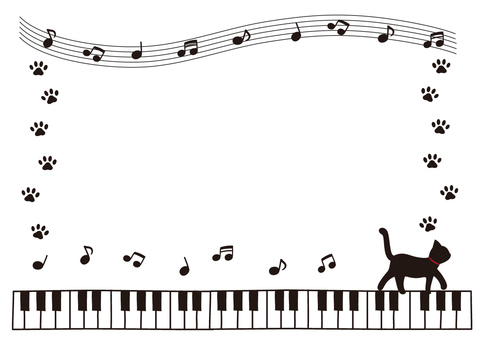 A black cat frame playing the piano