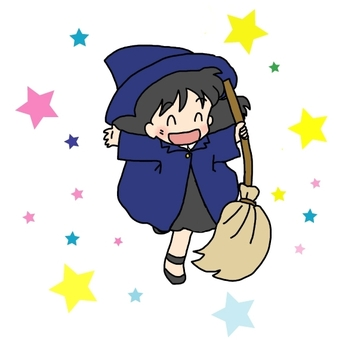 A witch with a broom (with ☆)