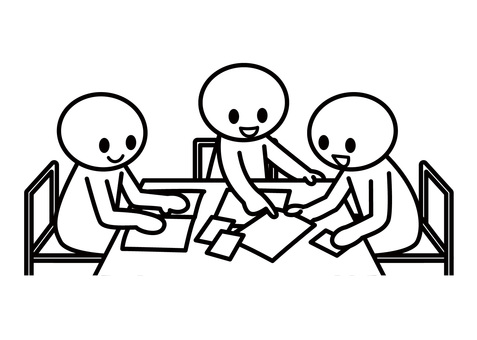 【Subject】 Stick figures - group work (3 people)