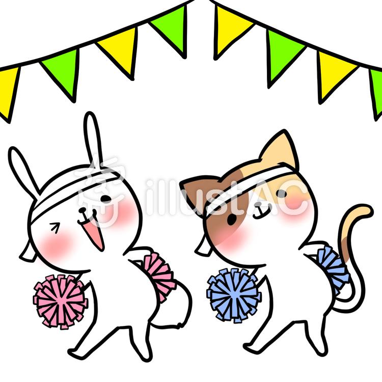 運動会ポンポンダンス動物猫兎イラスト No 863404無料イラストなら