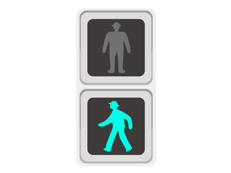 Signal machine pedestrian only blue
