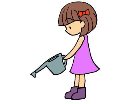 浇水的女孩