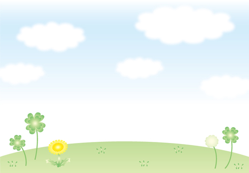 Clover and dandelion sky background
