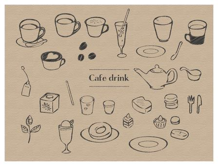 Hand drawn style drink & food set line tea pencil style