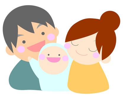 快樂的父母和孩子