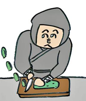 A ninja cutting a cucumber