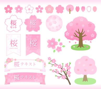 벚꽃의 프레임과 일러스트 세트
