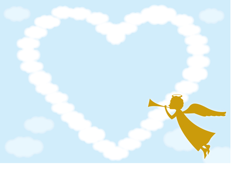 Heart cloud frame ~ with angel