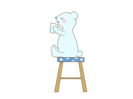 Illustration of a bear drinking juice