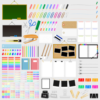 Illustration set of stationery and office supplies