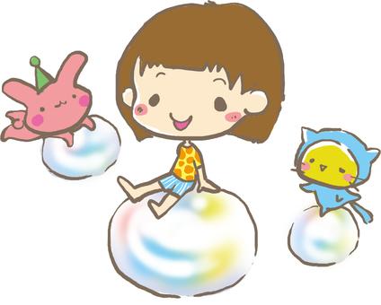 Kids on a soap bubble