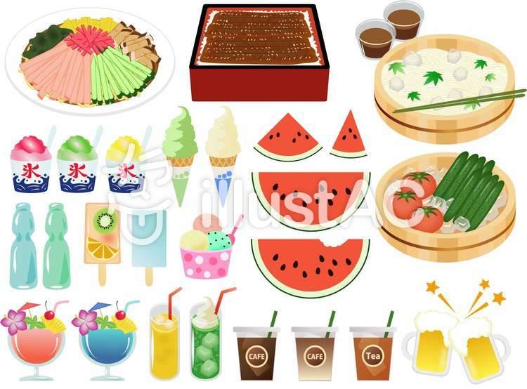 夏の食べ物セットのイラスト