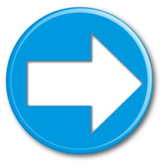 Three-dimensional arrow (right) blue