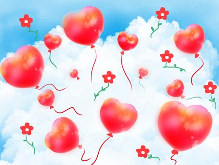 Heart balloon on the cloud