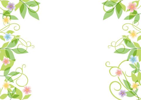 Fresh green and flower _ pastel frame