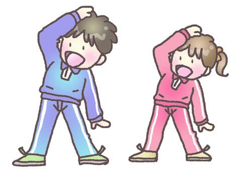 Boys and girls doing gymnastics
