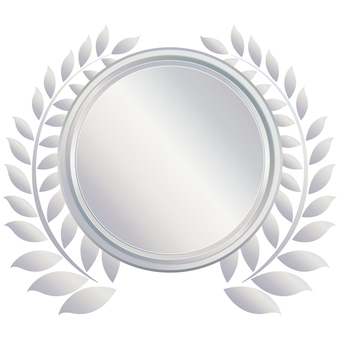 Silver Silver Emblem Seal Patch Round Frame