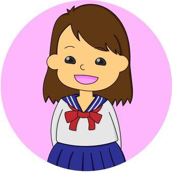 High school girl in sailor suit (pink)