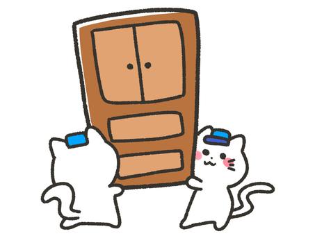White cat carrying big furniture