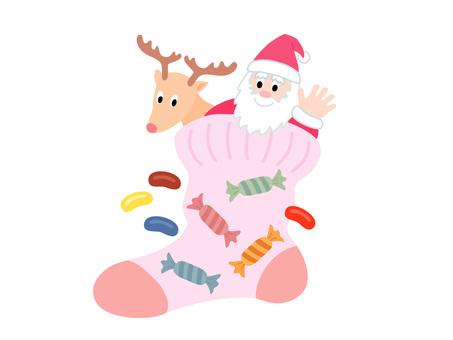 Reindeer and Santa in socks