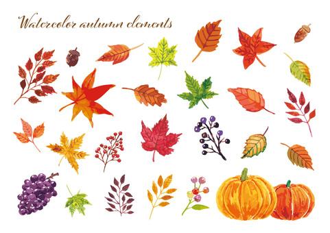 秋の水彩イラスト
