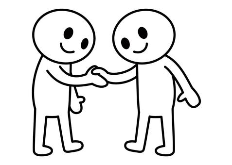 Stick man - shaking hands